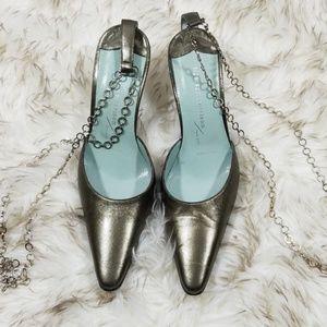 Sigerson Morrison metallic chain strap heels sz 6
